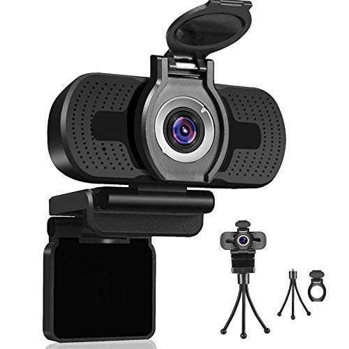 Webcam with Microphone, Dericam 1080P Webcam, Desktop Laptop Computer USB Web Camera with Privacy Cover and Tripod, Plug and Play for Video Streaming, Conference,Gaming, Online Classes