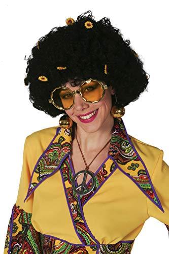 Karneval-Klamotten Hippie Perücke Damen Locken schwarz mit Blumen Flower Power 60er Jahre Damen-Perücke