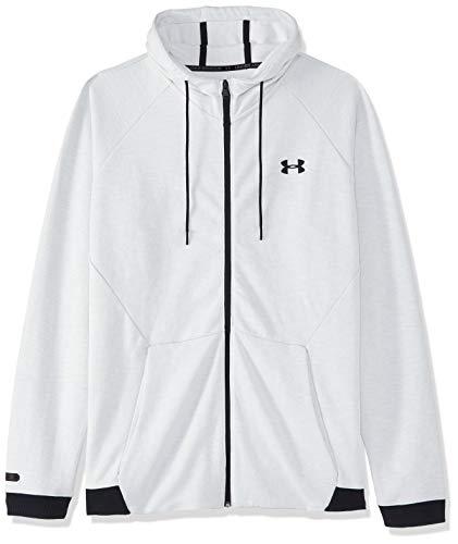 Under Armour Herren Unstoppable 2X Knit Fz atmungsaktiver Cardigan mit durchgehendem Zip, komfortable Sweatjacke mit enganliegender Passform, Weiß, Large