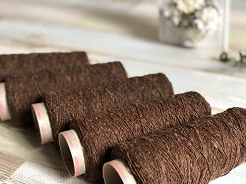 尾州の織糸 ウール糸 ネップ入りチョコレートブラウン #600 太さ1/3.8 100g 織り糸 編み物 縫製 手縫い 素材 グラン オリジナル