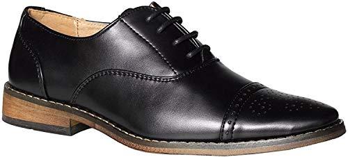 Paisley of London, Oxfordschuh, Brogues-Halbschuhe für Jungen, Schwarz - mattes schwarz - Größe: 39 1/3 EU