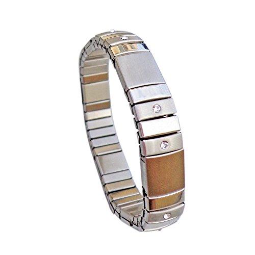 Retro Design Neo  Retro Design Neodym Magnet Flex Armband EVITA Energetix 4you 012 mit Kristall Elementen Breite 11 mm Größe S 14-15 cm