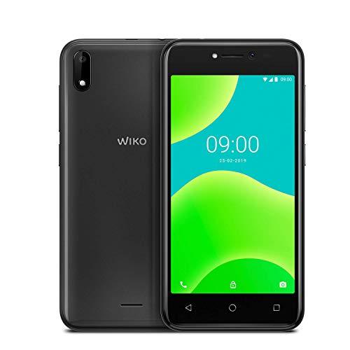 """WIKO Y50 + Carcasa – Smartphone de 5"""" (Dual SIM, 16GB de ROM ampliables, cámaras de 5MP con flash selfie, Quad-Core 1,3GHz, 1GB RAM, modo fácil de uso) – Color Gris"""