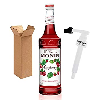 Monin - Raspberry Syrup with Monin BPA Free Pump Boxed Sweet and Tart Great for Cocktails and Lemonades Gluten-Free Non-GMO  750 ml