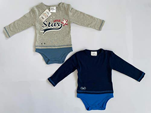 Twins Unisex Baby Body Langarm Little Star, 2er Pack