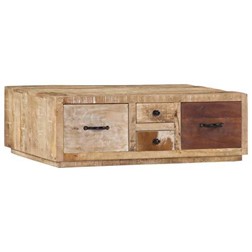 Festnight Couchtisch | Holz Wohnzimmertisch | Retro Sofatisch | Wohnzimmer Holztisch | Vinatge Kaffeetisch | mit 4 Schubladen | Massives Mangoholz 90 x 60 x 30 cm