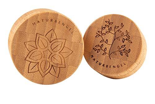 Naturbengel® Cremedose leer I 2er Set (25 & 50ml) I Kräuterdosen geruchsdicht I Tiegel aus Bambus und Aluminium I Sammeldose