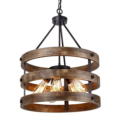 miwaimao 5 luces vintage industriales Loft Chandelier metal y madera con forma circular, lámpara de techo de aceite negro con acabado retro rústico