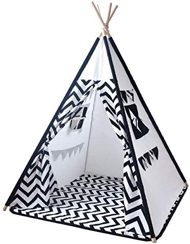 Woodtree Children's Tent Kids Teepee Play Tent Children Large Cotton Playhouse Indoor Stripes Play Tents (Color : White, Size : ONE SIZE),Size:One Size,Colour:White (Color : White, Size : One Size)