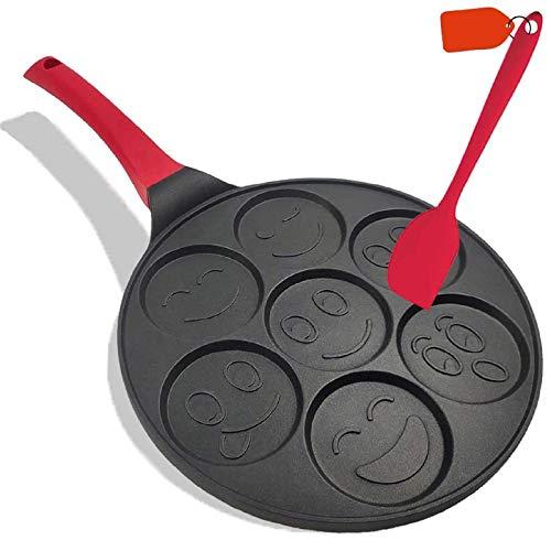 Pan for Pancakes, Emoji Smiley Face Pancake Pan Nonstick Grill Pan Mini Blini Pancakes Emoji Mold with Non-slip Handle, 10 Inch