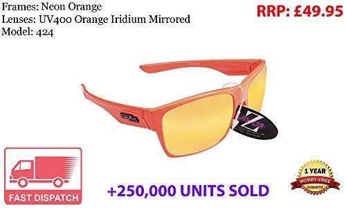 Rayzor Lunettes léger UV400 Orange Sports Wrap Course Lunettes de Soleil, avec Une Orange Iridium Miroir Anti-éblouissement Objectif