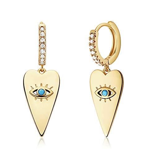 Mevecco Heart Evil Eye Huggie Hoop Earrings 14K Gold Plated Dangle Hoop Cuff Earrings Huggie Stud Earrings for Women Cubic Zirconia White Solitaire CZ Hoop Earrings for Women