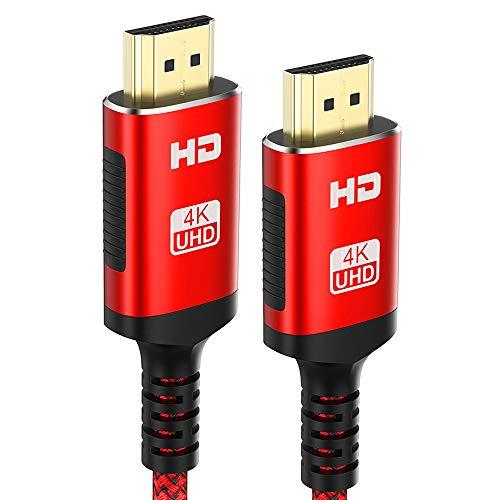 2Meter HDMI Kabel 4K - Snowkids 2m 4K@60HZ HDMI 2.0 des Rutschfesten Kabel Aktualisierte Version mit 18Gbps HDCP 2.2, 3D UHD Ethernet ARC-kompatiblem HDTV, PS4, Projektor - Rot