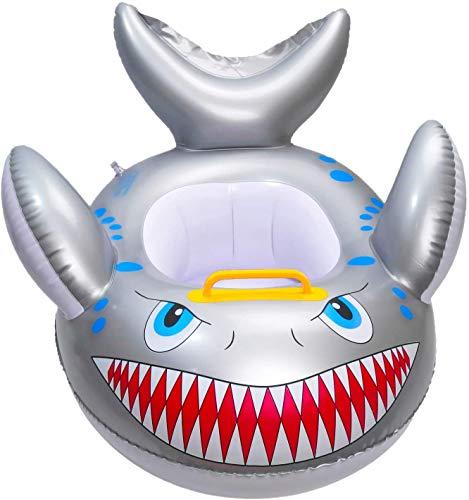 WATINC - Tija de tiburón en forma de bebé, piscina flotadora, juguete de banda de dibujo hinchable, peces anilla de verano, flotadores para niños de 9 a 48 meses