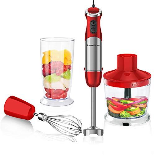 Bonsenkitchen Stabmixer 3-in-1 Set, 800W Anti-Splash Edelstahl Pürierstab mit 500 ml Food Chopper, 600 ml Becher, Schneebesen, Handrührer, Stufenlos Geschwindigkeiten, BPA-freier(Rot)