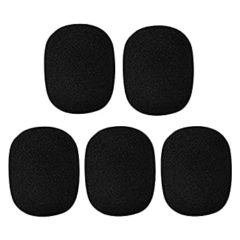 5 Pack Large Foam Cover Mic Windscreen Microphone Cover Handheld Foam Windscreen for MXL Audio,Perfect Pop Filter for Recording,Black