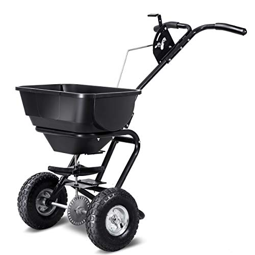 Goplus Broadcast Spreader Builder Fertilizer Push Walk Behind, Garden Seeder Salt Spreader (Premium Black+10,000 sq ft)