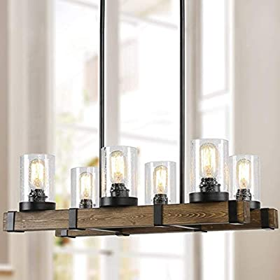 Farmhouse Chandelier for Dingin Rooms,6-Lights Kitchen Island Lighting,Rectangle Wood Chandelier Lighting with Seedy Glass Shape