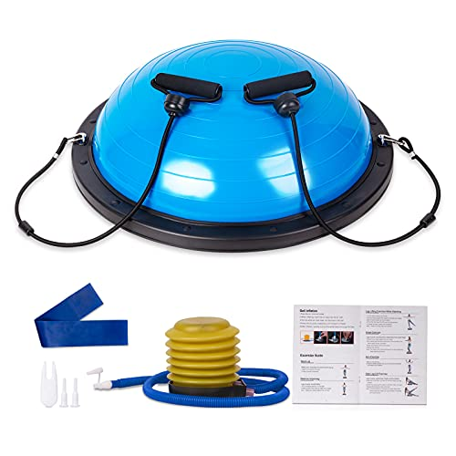Half Balance Ball 58 cm, Workout Home Fitness Strength Exercise Ball, Half Ball Balance Trainer Stability with Pump, Resistance Band for Yoga Exercise - Blue