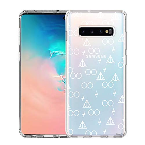 Unov Galaxy S10 Case Clear with Design Soft TPU Shock Absorption Slim Embossed Pattern Protective Back Cover for Galaxy S10 6.1in (Death Hallows)