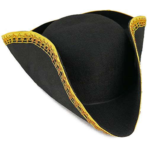 Skeleteen Colonial Black Tricorn Hat - Revolutionary War Costume Tricorner Deluxe Hat with Gold Trimming