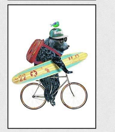 fdgdfgd Nordic Cartoon Decorazione Animale Pittura Simpatico Orsetto in Bicicletta Panda Skateboard Cucciolo Ombrello Rosso Tela Pittura Scuola Materna
