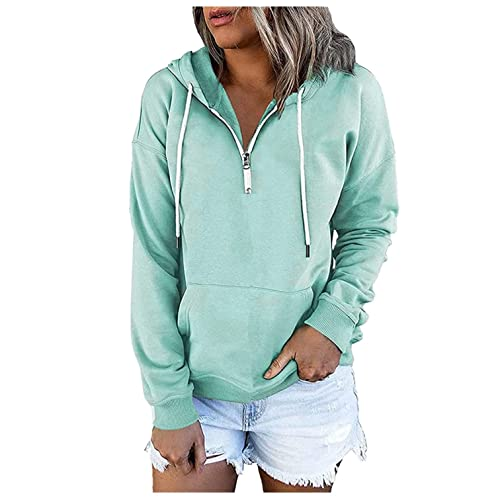 Hoodies for Women Pullover, Women's Casual Zippered Drawstring Sweatshirts Hooded Fall Tops Cozy Long Sleeve Shirts