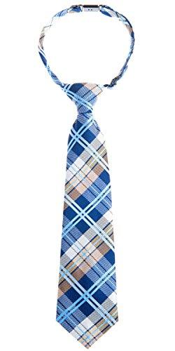 Retreez elegante Tejido tartán de cuadros escoceses PRE-TIED de microfibra Boy 's Tie - Azul -