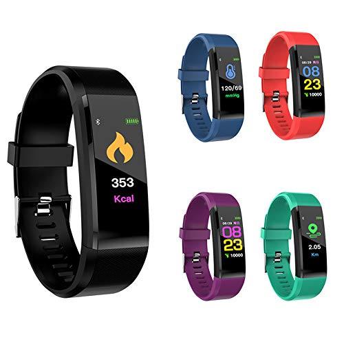 (2020 Modell) ID 115 Plus Sport Armband mit Thermometer und Blutdruckmessung Aktivität, Schlaf und Fitness Tracker, Pulsmesser. Anruf SMS und SNS-Anzeige. IOS-und Android-kompatibel (Grün)