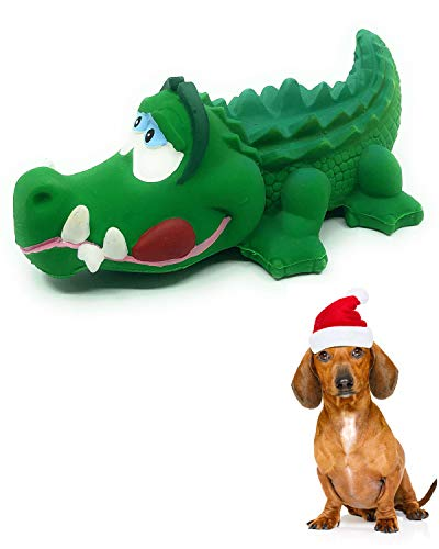 Crocodile Sensory Squeaky Dog Toy Natural Rubber (Latex) Lead-Free Chemical-Free Complies to Same Safety Standards as Children's Toys Soft Squeaky (Small)