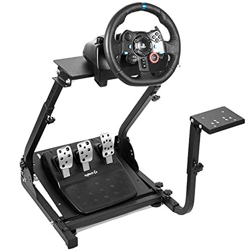 Hottoby Soporte de rueda de carreras G920/G29 apto para Logitech G27/G25 Gaming Wheel Stand apto para Thrustmaster, pedales de rueda no incluidos, montaje de palanca no incluido