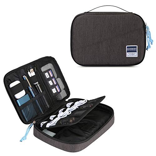 bagsmart Elektronik Tasche Organizer Reise Tasche Elektronische Tasche Doppelschichte für Handy Ladekabel, Kabel, Festplatte, USB Sticks, SD Karten (Schwarz)