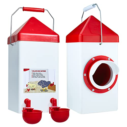 RentACoop 5lb Poultry Feeder and 1Gal Poultry Waterer Set