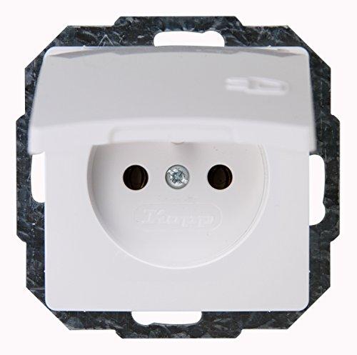 Kopp 944802081 Paris Mitten-Schutzkontakt-Steckdose 1-fach mit Deckel und erhöhtem Berührungsschutz, arktis-weiß