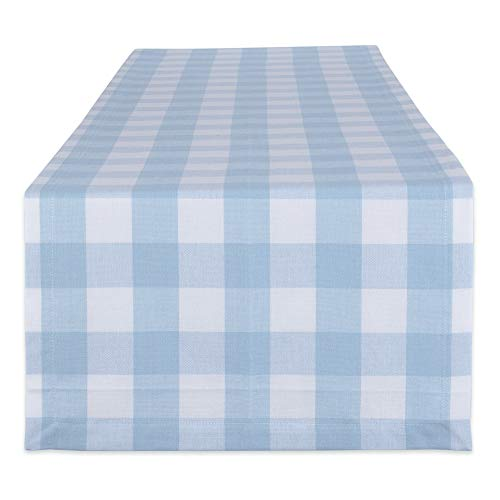 DII Buffalo Check Collection Classic Tabletop Table Runner 14x108 Light Blue White
