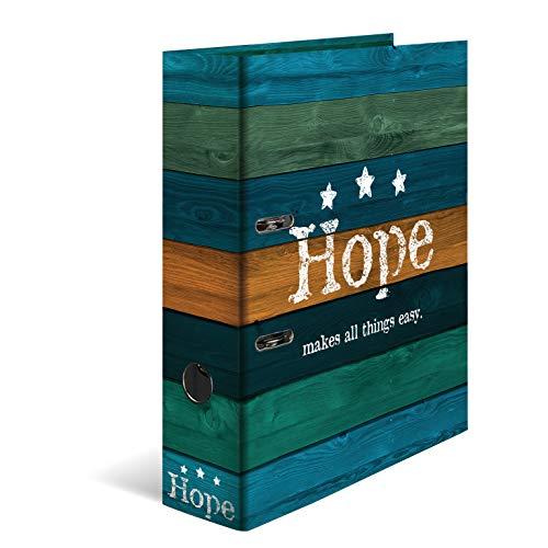 HERMA 7184 Motiv-Ordner DIN A4 Woody Hope, 7 cm breit aus stabilem Karton mit Holzoptik Innendruck, Ringordner, Aktenordner, Briefordner, 1 Ordner