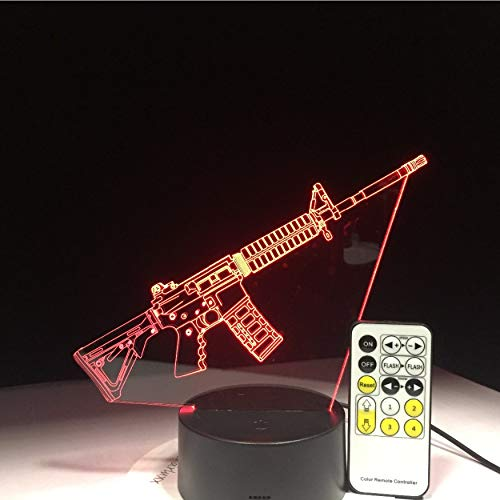 Kampf Waffe Sniper Gewehr Silent Gun M4A1 3D Led Lampe 7 Farben Base Night Light Game Fan Nacht Gif