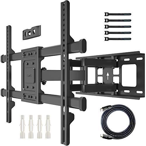 BONTEC TV Wandhalterung Schwenkbar Neigbar Universal TV Halterung für 32-70 Zoll Flach & Curved Fernseher & Monitor bis zu 60kg Max VESA 600x400mm, mit HDMI-Kabel