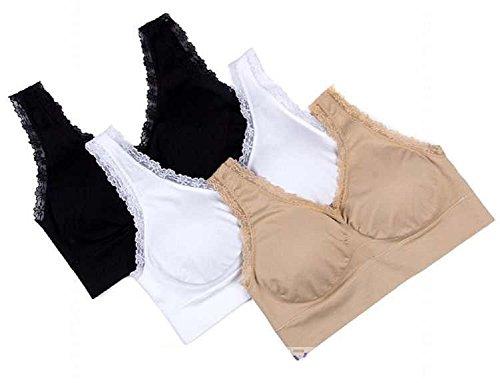 Genie Bra Women Set of 3 Lace White, Nude, Black (XL, Lace)