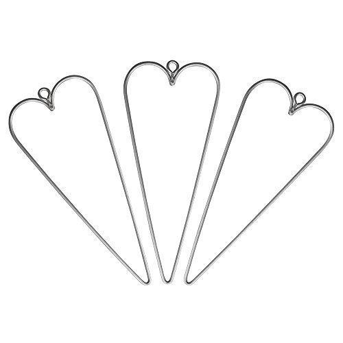 Rayher 24083000 Draht Herzen, 12 x 5 cm, 3 Stück, Herz aus Metalldraht, Drahtherz, Form zum Umwickeln, Basteln, Dekorieren
