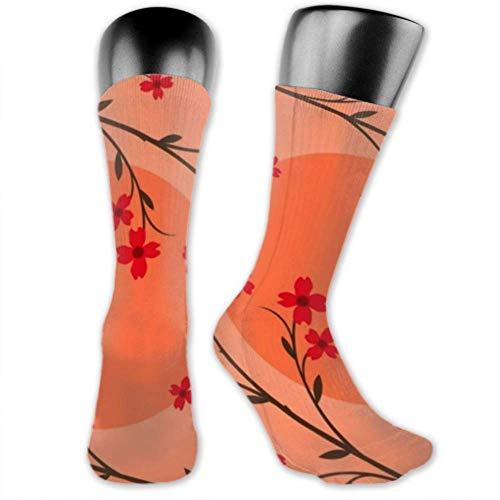 Los calcetines para hombres y mujeres son cómodos, ligeros y sudorosos, calcetines medianos y largos de estilo japonés de plantas divertidas y novedosas para hombres