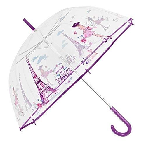 PERLETTI-Paraguas Transparente Paris 87cm Autom. Ombrello, Colore (Multicolor 000), Taglia Unica Talla del Fabricante Tal Y Como Aparece En La Etiqueta, 761170
