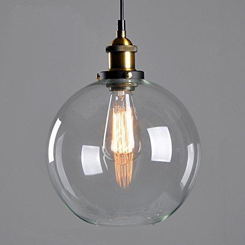 MZStech Rétro classique boule de verre suspension avec support en bronze E27 ampoule (Transparent)