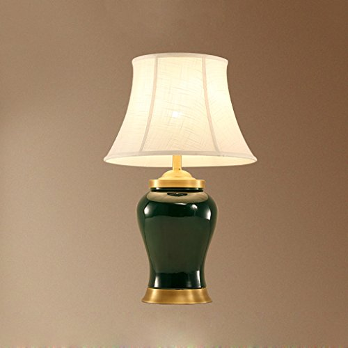 CKH donkergroene vaas keramiek bureaulamp bureau werkkamer verlichting tafellamp eenvoudige doek lampenkap stekker en knop schakelaar