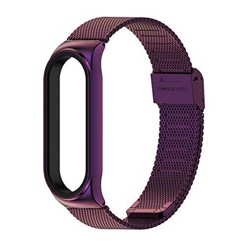 Compatible para Xiaomi Mi Band 6 Metal Watchband, Bonita pulsera de acero inoxidable para Mi Band 6 (D)