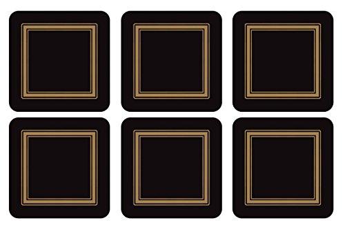 Pimpernel - Boite 6 Dessous de Verre - Carré - Classic Black