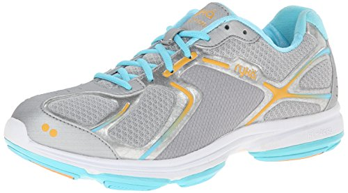 RYKA Women's Devotion Walking Shoe,Chrome Silver/Nirvana Blue/Tangerine Orange,8.5 W US