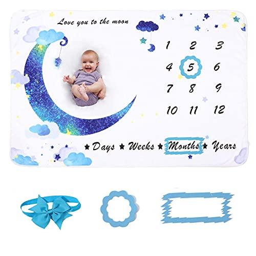 Manta mensual para bebé con diseño de luna, color azul