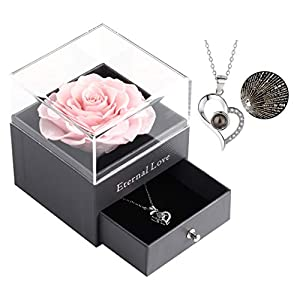 Ocosy Preserved Real Rose Drawer with I Love You Necklace 100 Languages Gift Set, Enchanted Real Rose Flower for Valentine's Day Anniversary Wedding Romantic Gifts for her