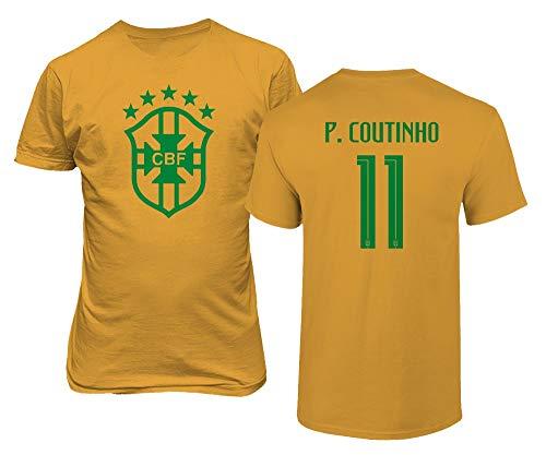 BTA Apparel Brasilien Fußball #11 Philippe Coutinho Jersey Stil Herren T-Shirt (Gold, L)